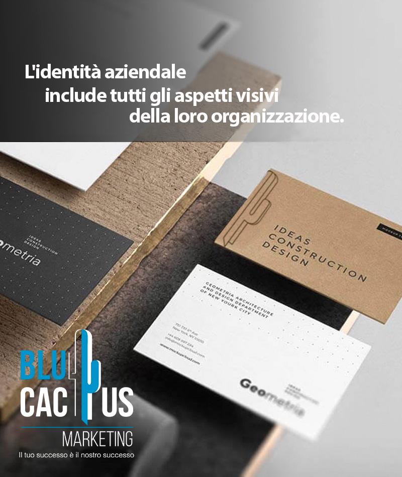 Blucactus Design d'identità aziendale L'identità aziendale include tutti gli aspetti visivi della sua organizzazione