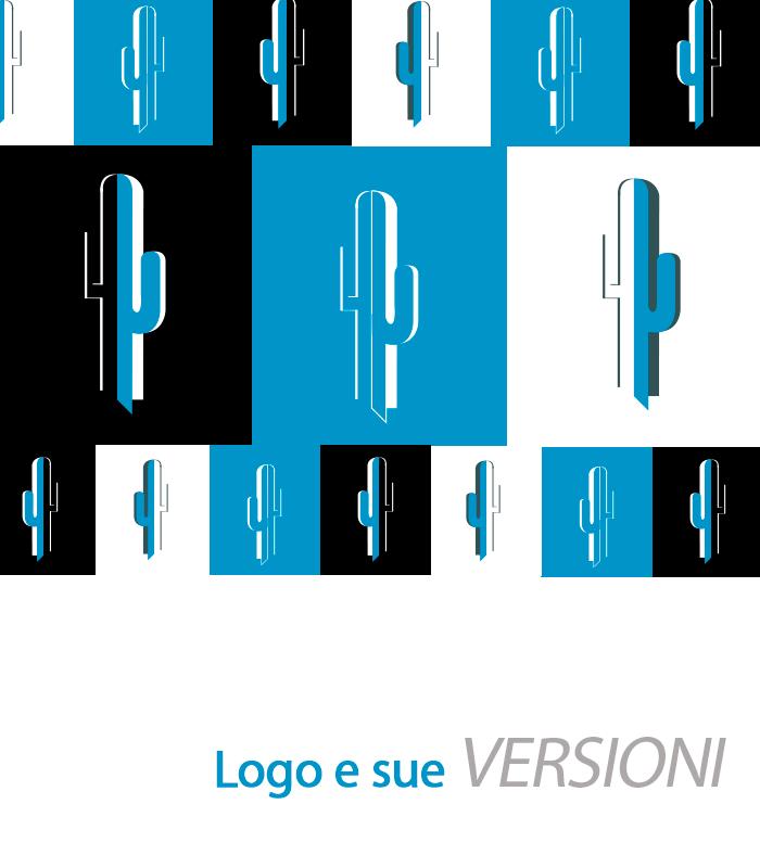 Blucactus Servizi Design d'identità aziendale Logo e sue versioni